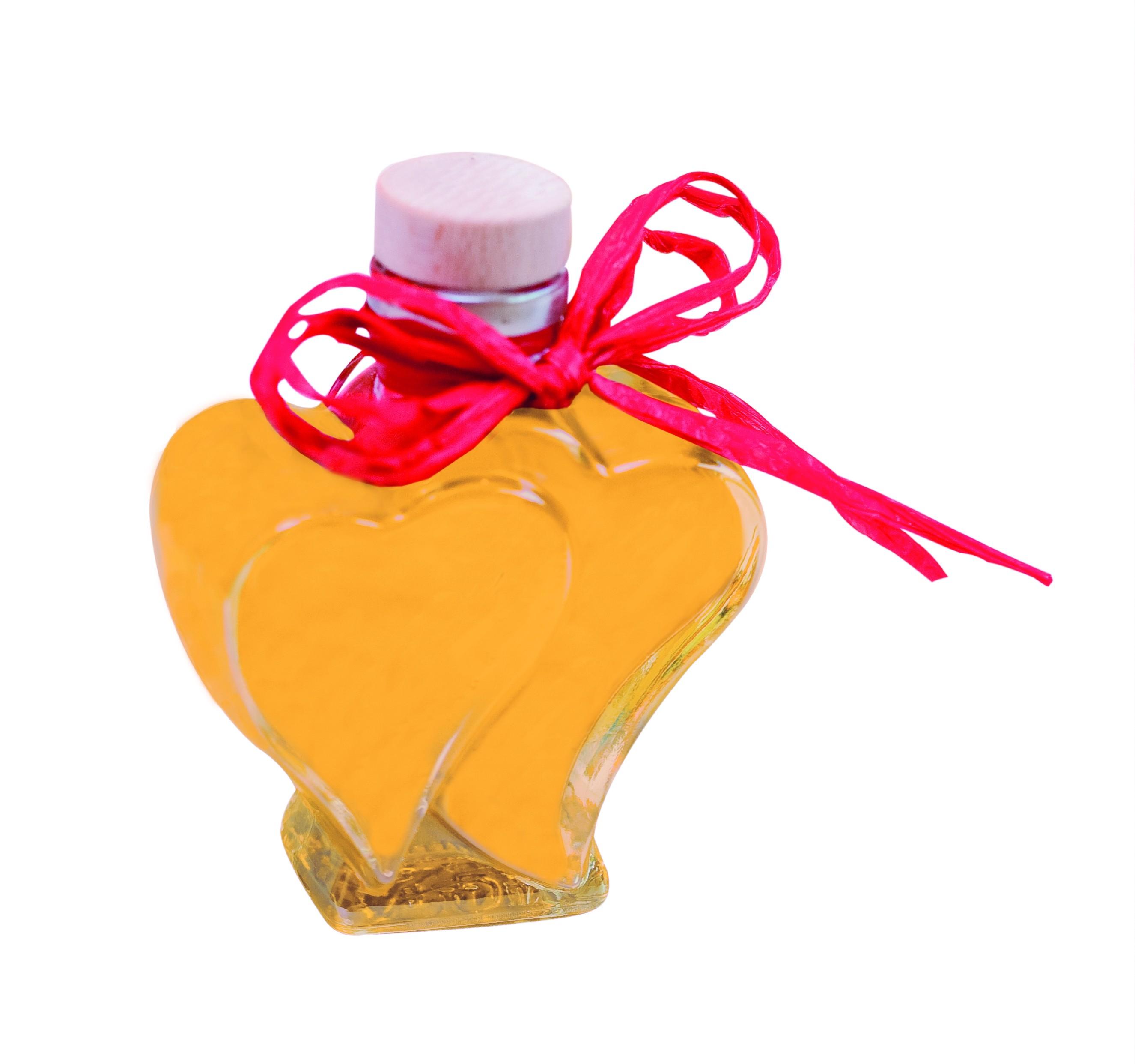 Orangen-Eierlikör in Herzflasche