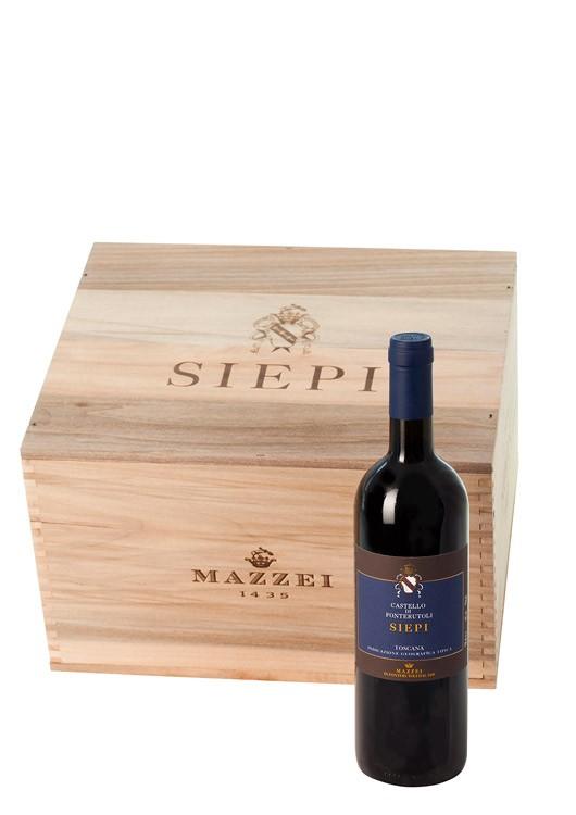 6 Flaschen 2012 Siepi in schöner Holzkiste