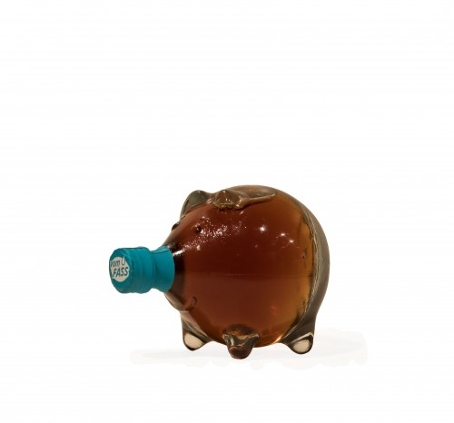 """Nussino Nuss-Schokolikör in der Schmuckflasche """"Schwein"""""""