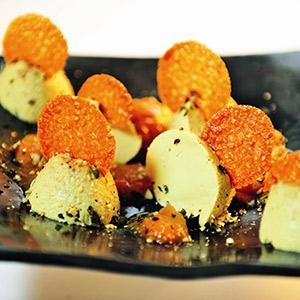 Mousse au Chocolat blanc mit Kürbiskernöl