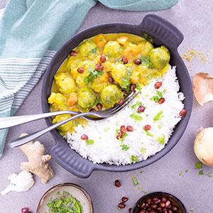 Rosenkohl-Curry mit Basmatireis