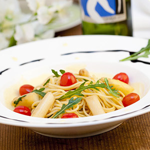 Spargel mit Rucola-Spaghetti